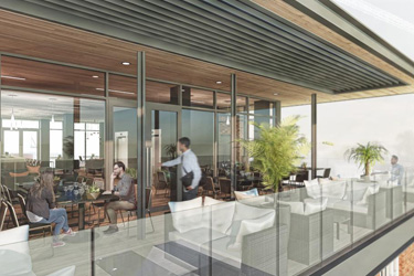CGI rendering of rooftop food and beverage offering