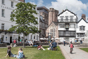 View from Exeter Cathedral showing CGI of hotel redevelopment